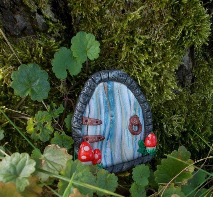 Feentür wetterfest Deko innen & außen Pilze Elfe Gartendeko Feen Tür Herbst