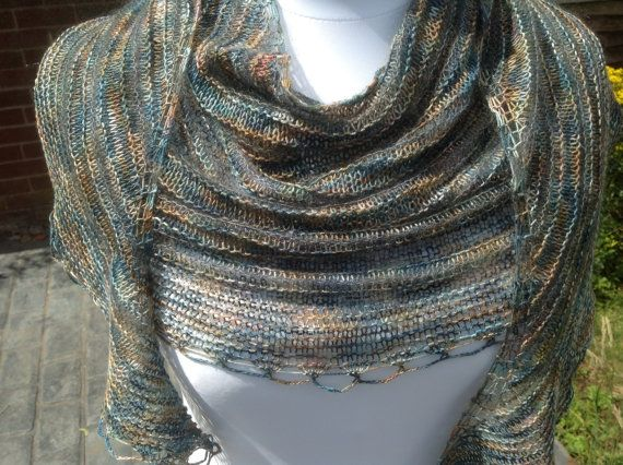 Hand Knit Merino Silk Mohair Crescent Shaped by WrapsodyInLace, £65.00