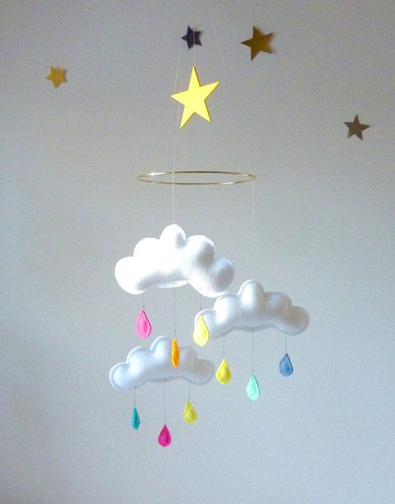 "Rain Cloud Mobile for Nursery ""RAINBOW STAR"" with yellow star by The Butter Flying"