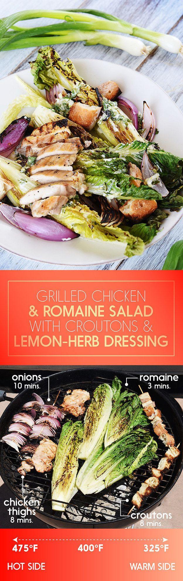 Pollo alla griglia e Romaine Insalata con crostini di pane e limone-basilico Dressing