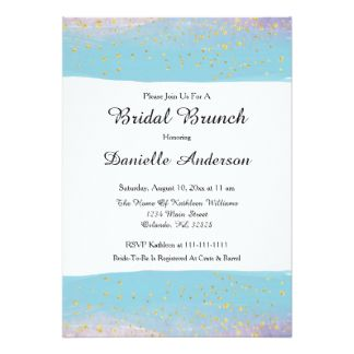Blue & Gold Watercolor Bridal Shower Invitation