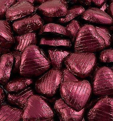 Chocolade Harten in Bordeauxrode Folie