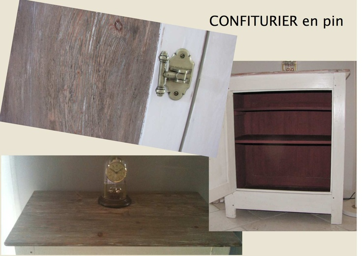 CONFITURIER cérusé. Le panneau de porte et le plateau sont cérusés (teinte créée à partir de pigments naturels). L'intérieur est peint à la chaux (fabrication maison)