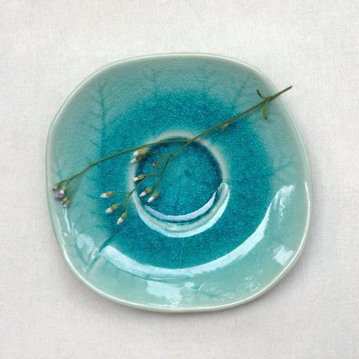 small ceramic decorative plate in turquoise color in 2020 ...