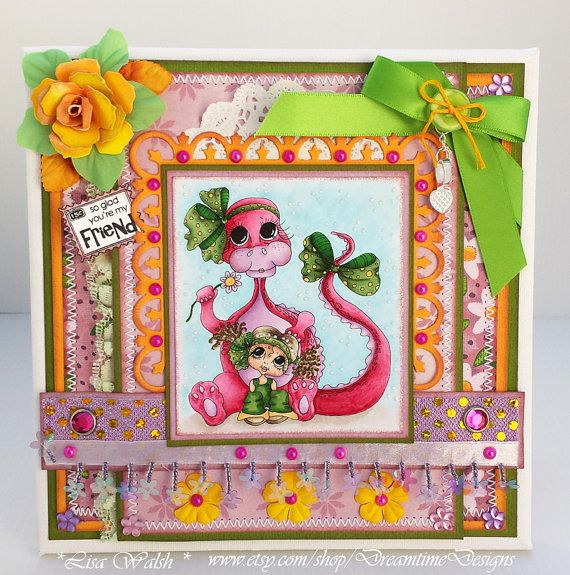 Dreamtime Designs: So Glad You're My Friend - My Bestie & Dragon - Home Decor Canvas - Handmade by DreamtimeDesigns