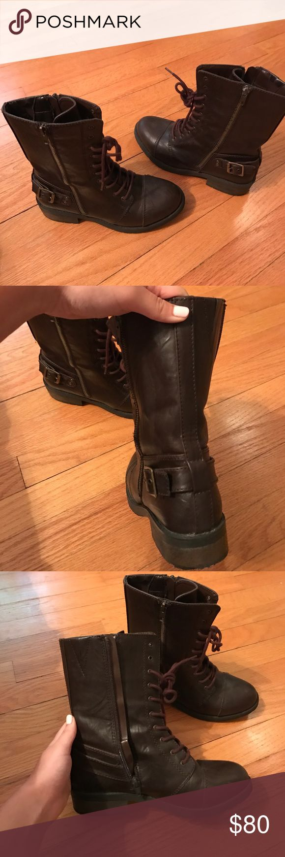 White mountain brown combat boots LIKE BRAND NEW brown zip up combat boots, only worn twice, perfect condition, no signs of wear or flaws White Mountain Shoes Combat & Moto Boots