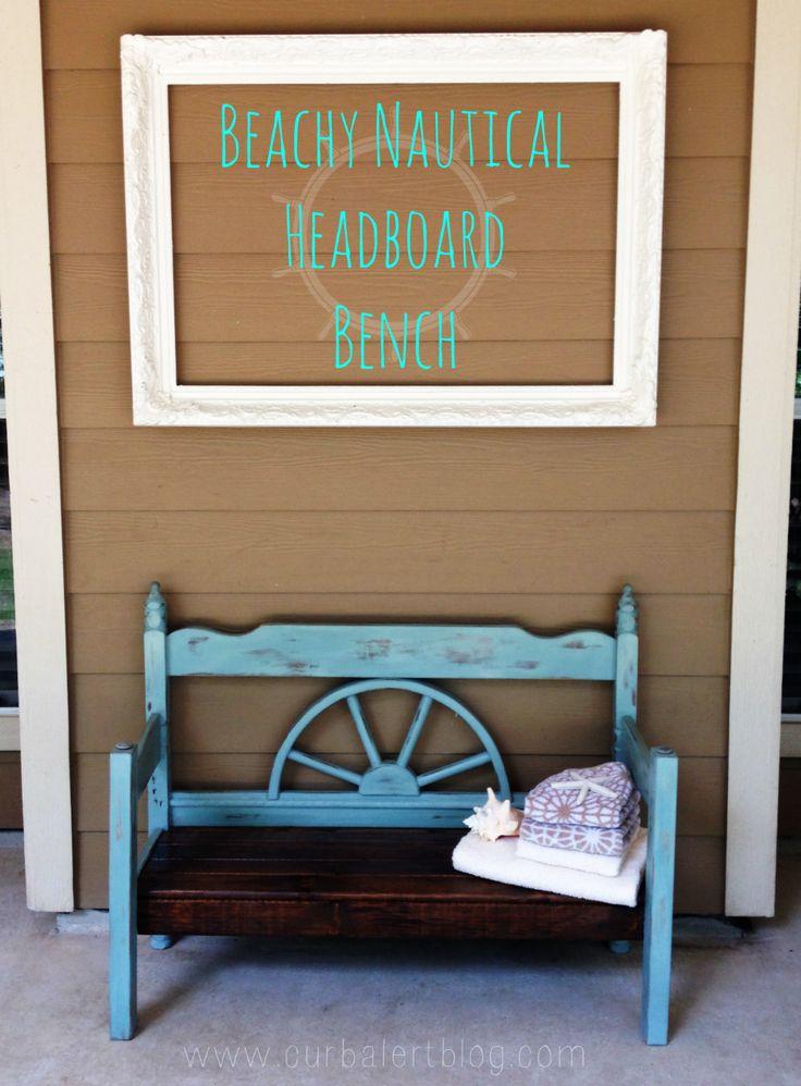 ships wheel headboard   Nautical Beachy Headboard Bench Makeover with Annie Sloan Chalk Paint ...