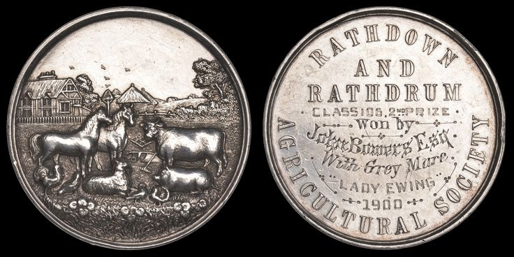 Rathdown and Rathdrum Agricultural Society, a silver award medal, unsigned, farm animals in foreground, buildings and trees behind, rev. legend, named (Class 106, 2nd Prize, won by John Bowers Esq, with Grey Mare, 'Lady Ewing', 1900), 44mm (cf. DNW M5, 1234). Brightly cleaned and with some rim knocks, otherwise about very fine