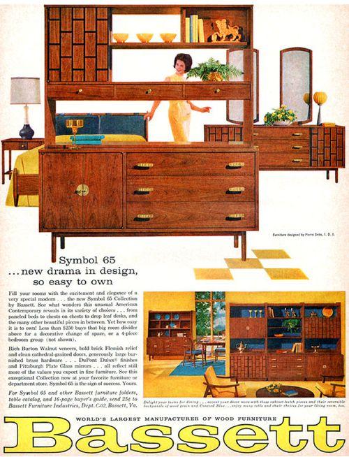 Bassett Furniture Symbol 65 Pierre Debs Design Mid Century Modern 1963  Print Ad Source: