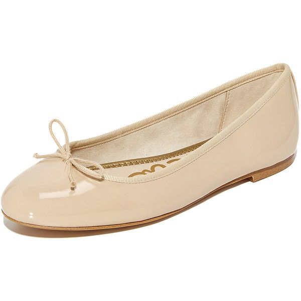 Sam Edelman Finley Ballet Flats (260 AED) ❤ liked on Polyvore featuring shoes, flats, nude linen, patent leather shoes, patent ballet flats, ballet pumps, nude shoes and ballerina pumps