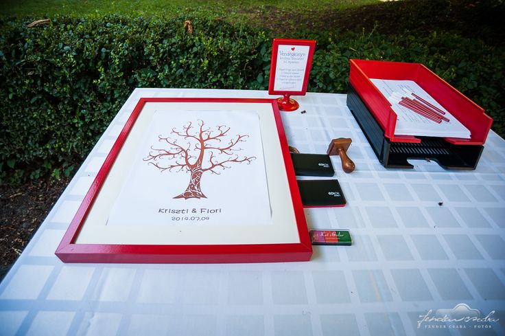 fingerprint tree red wedding guestbook