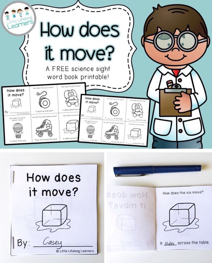 This FREE mini sight word book printable is a great way to review the different ways object move while working on early reading skills!
