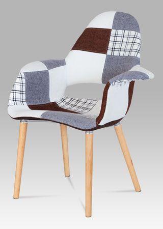 CT-734 PW2  Moderní designová židle v oblíbeném provedení patchwork, nohy jsou z masivního dřeva v přírodním odstínu s černým kovovým výpletem. Tyto židle budou perfektním designovým doplňkem jídelen, kuchyní, kanceláří, apod. Nosnost této židle je do 110 kg.