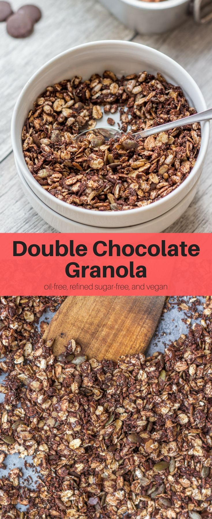 This super simple Double Chocolate Granola is perfect for breakfast. It's crunchy, healthy, and tasty. Oil-free, refined-sugar free, and vegan. #breakfast #vegan #recipes #healthy