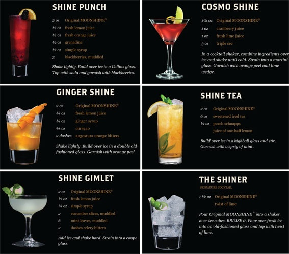 Moonshine Cocktails - link no longer works correctly but I think I can read ingredients. As long as it start before drinking said ingredients that is...
