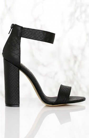 Lipstik Banta Heels Black Cobra | Beginning Boutique | These babies will jazz up just about any look! Take the Lipstik Banta Heels Black Cobra out with your favourite little cocktail dress and accessories for a stunning, stylish look! #BBFEST #beginningboutique