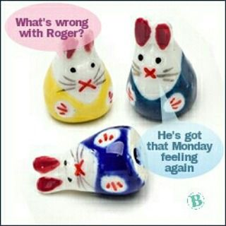 Anyone else suffering with Roger?  #rabbits #ceramic #beads #yellow #blue #funny #monday #morning #meme #offer #beadsunlimited http://ow.ly/RbB1j #pin