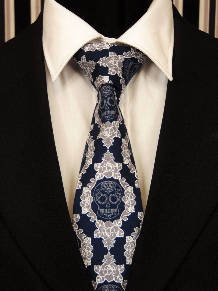 Skull Necktie, Skull Tie, Navy Skull Necktie, Navy Skull Tie, Candy Skull Necktie, Candy Skull Tie, Sugar Skull Necktie, Sugar Skull Tie by EdsNeckties on Etsy