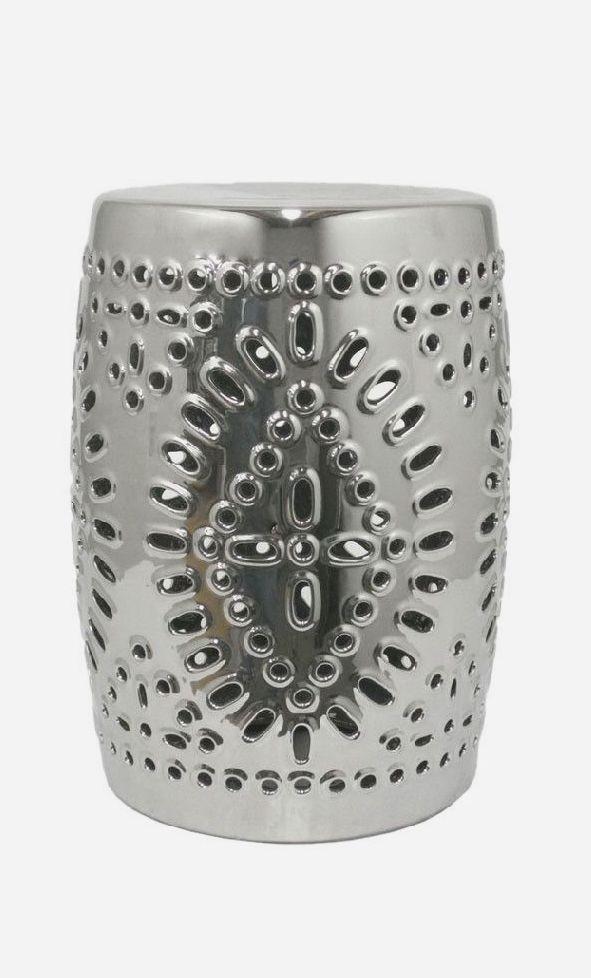 Lexie Garden Stool In Silver