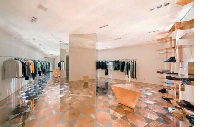 Roger Hiorns for Raf Simons, 2008. Store view.
