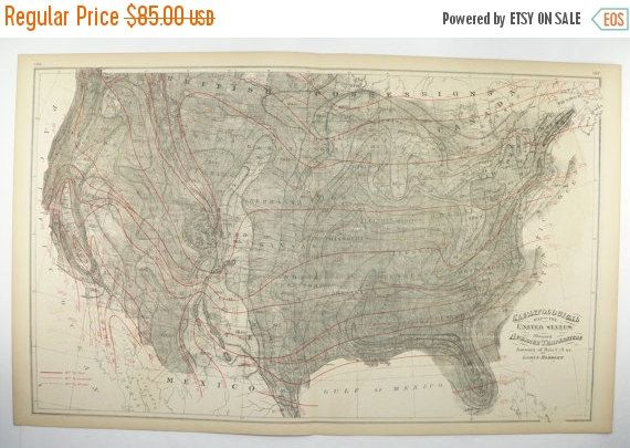1876 US Climate Map United States Map, Avg Temperature Rainfall Meteorology Map, Man Cave Decor Gift for Him, Gray Map, Black and White Art available from OldMapsandPrints.Etsy.com #UnitedStatesMap #ClimateMap #MeteorologyMap #VintageMapoftheUnitedStates