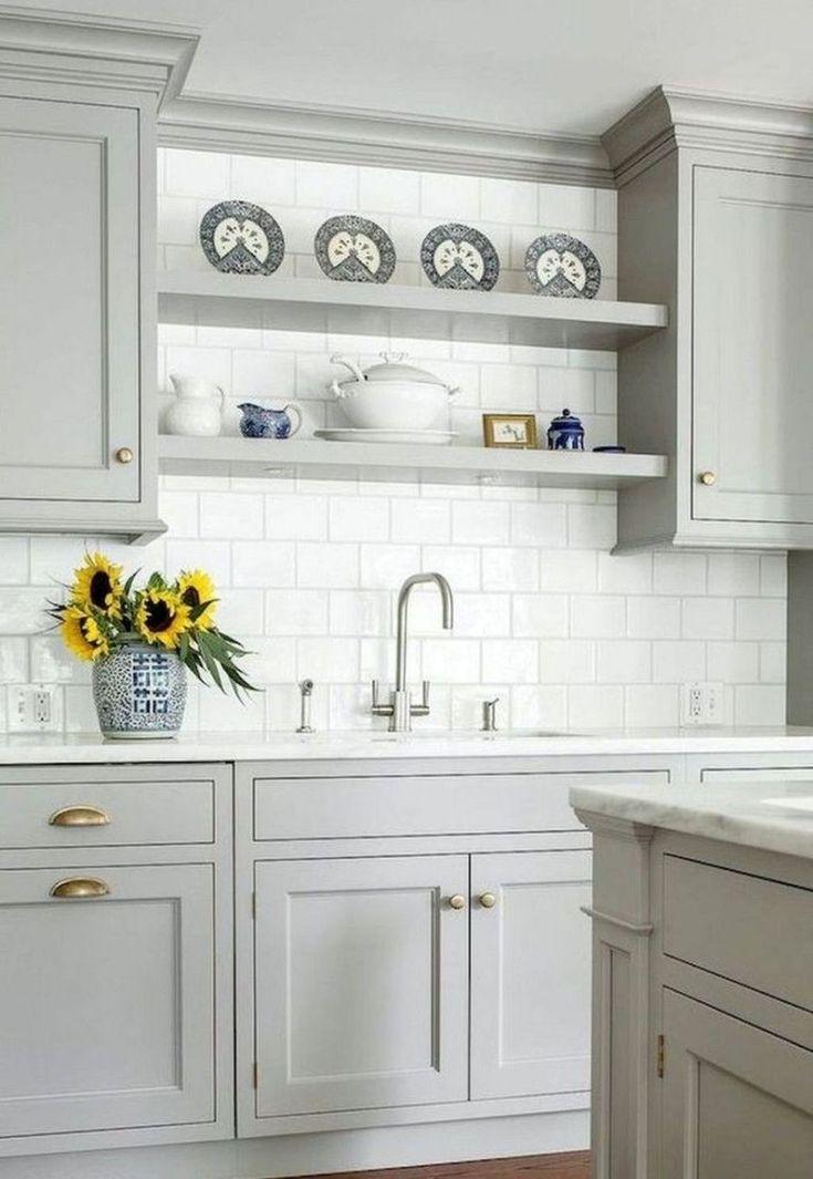 45 Elegant Gray Farmhouse Kitchen Cabinet Makeover Ideas ...