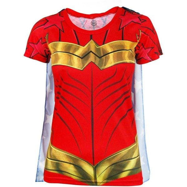Ladies DC Comics Superhero Wonder Woman Costume T Shirt with Cape Red... (175 SVC) ❤ liked on Polyvore featuring costumes, ladies superhero costumes, red halloween costumes, womens halloween costumes, dc comics halloween costumes and lady costumes