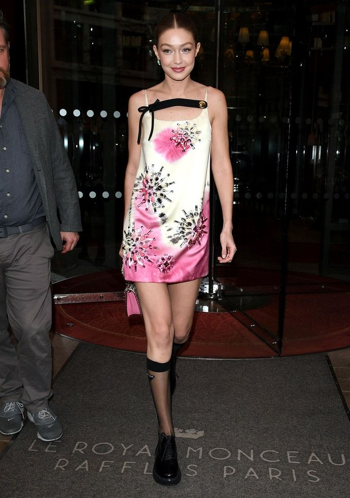 9aa3edd0793d Gigi Hadid Made This Classic Slip Dress Look So Cool in 2019   Style ...
