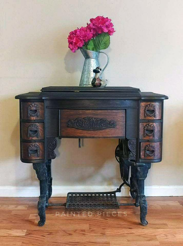 Java Gel Stained Sewing Machine Table | General Finishes Design Center