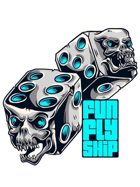 Camiseta Dados de Caveiras – FunFlyShip - http://funflyship.com/