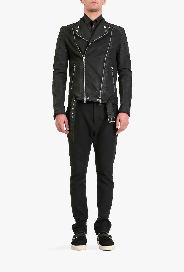 Balmain - Quilted cotton-denim biker jacket - Mens lightweight jackets