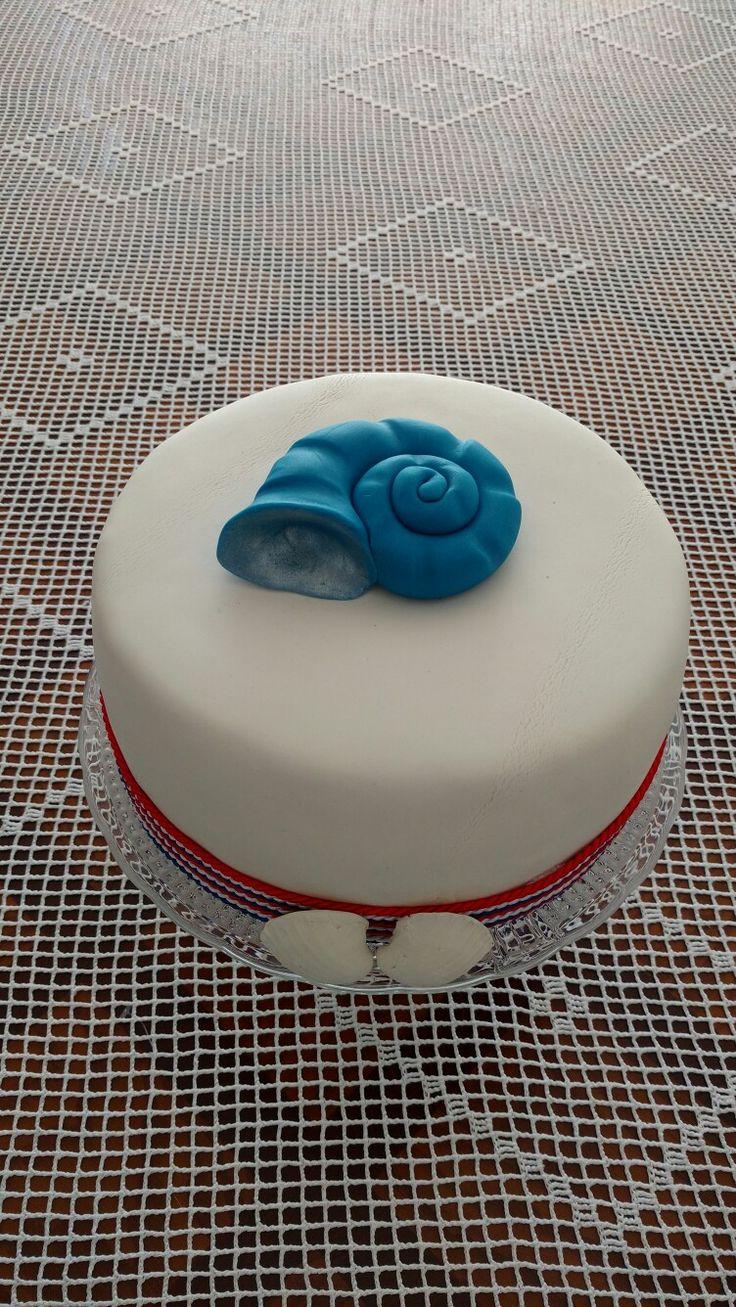 Tort z elementami morskimi, muszle. Autor- Słodka Sosnowa