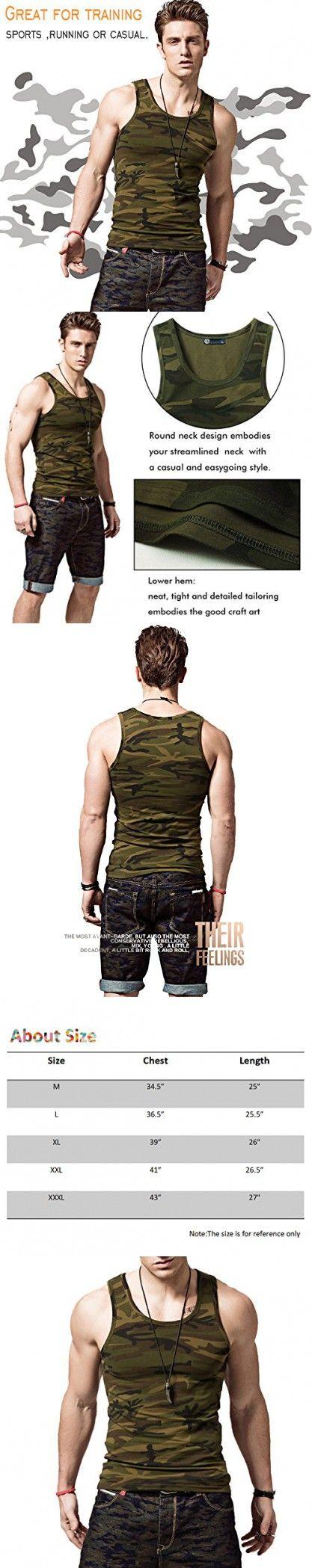 XShing Cotton Men Tank Top Comfort-Soft Gym Men's Sleeveless Muscle Camo shirts (XXXL, ArmyGreen)
