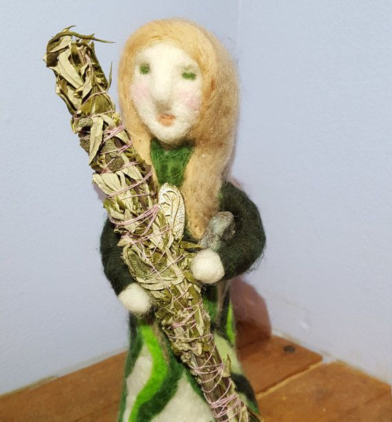 Needle felted moss agate crystal keeper art doll by CallunaMoss
