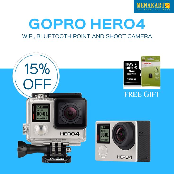 GoPro Hero4-WiFi, Bluetooth Point and Shoot Camera online at Menakart #GoPro #Hero4 #Cameras #Digitalcameras #Online #Shopping #Photography