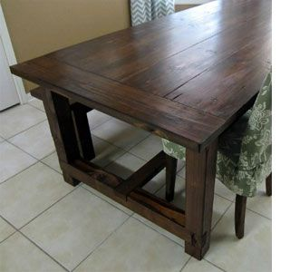 Pine Wood Stained Farmhouse Table