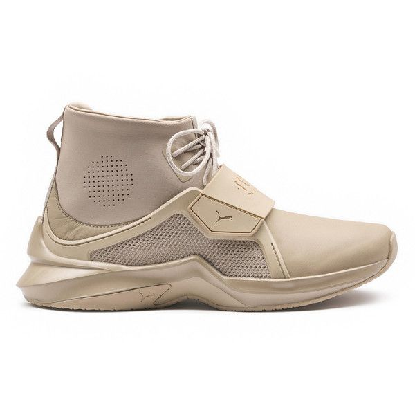Puma Fenty X Puma by Rihanna 'The Trainer' Hi Sneaker (€170) ❤ liked on Polyvore featuring shoes, sneakers, puma shoes, mesh trainers, puma sneakers, mesh sneakers and puma footwear