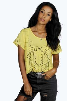 Lova Aztec Print T-Shirt - Shop for women's T-shirt - ecru T-shirt