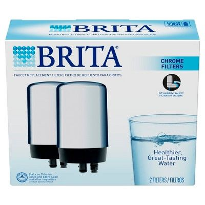 Brita On Tap Faucet Water Filter System Replacement Filters 2 ct - Chrome (Grey)