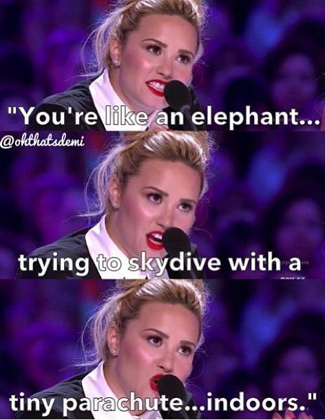Demi mocking Simon on X Factor
