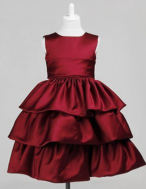 Precioso mangas de raso de la boda / vestido de noche vestido de flores niña con el arco
