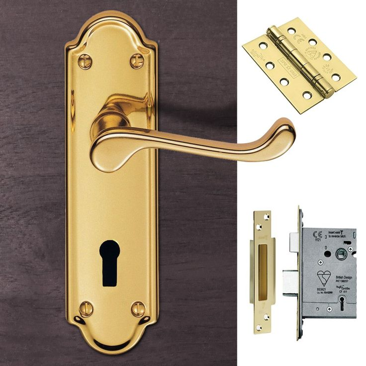 DL17 Ashtead Lever Lock Polished Brass Handle Pack. #doorhandlepack #doorhandlelock #externaldoorhandle