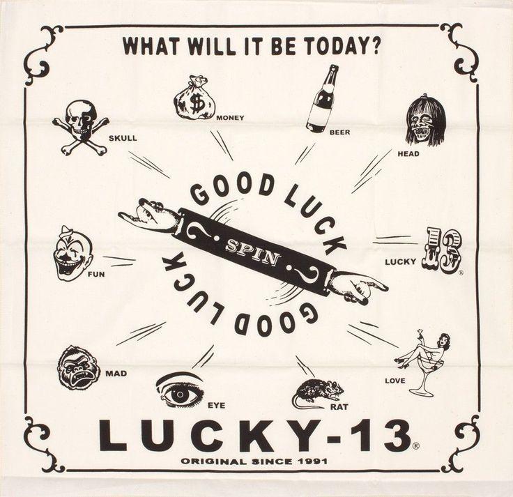 Lucky 13 bandana Good Luck tattoo art handkerchief biker hot rod pin up  #Lucky13 #Bandana