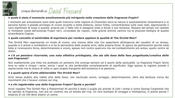 The Beauty Cove: IL PROFUMO: THE ORCHID MAN di FRAPIN PARFUMS
