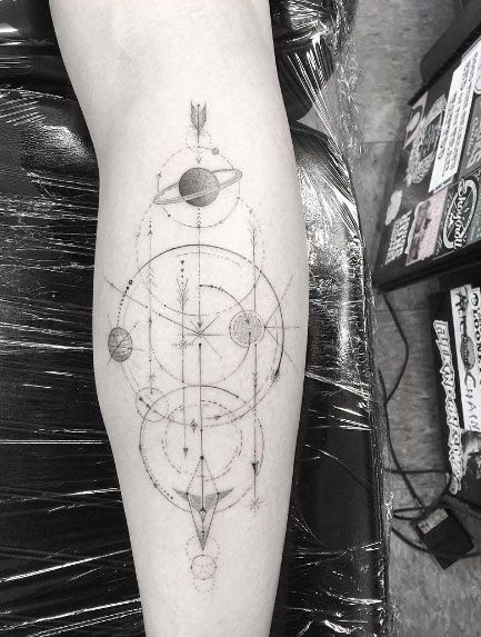 Geometric space tattoo by Doctor Woo