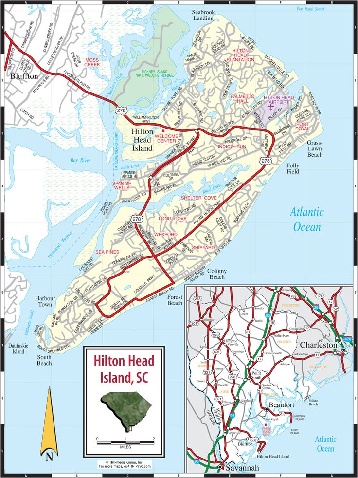 Myrtle Beach Hotels >> Hilton Head Island & Lowcountry, South Carolina Road Map   Hilton head island, Hilton head ...