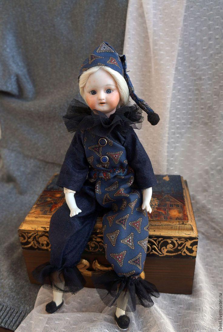 Купить Принцесса Старого Цирка - тёмно-синий, кукла ручной работы, антиквариат, антикварная кукла