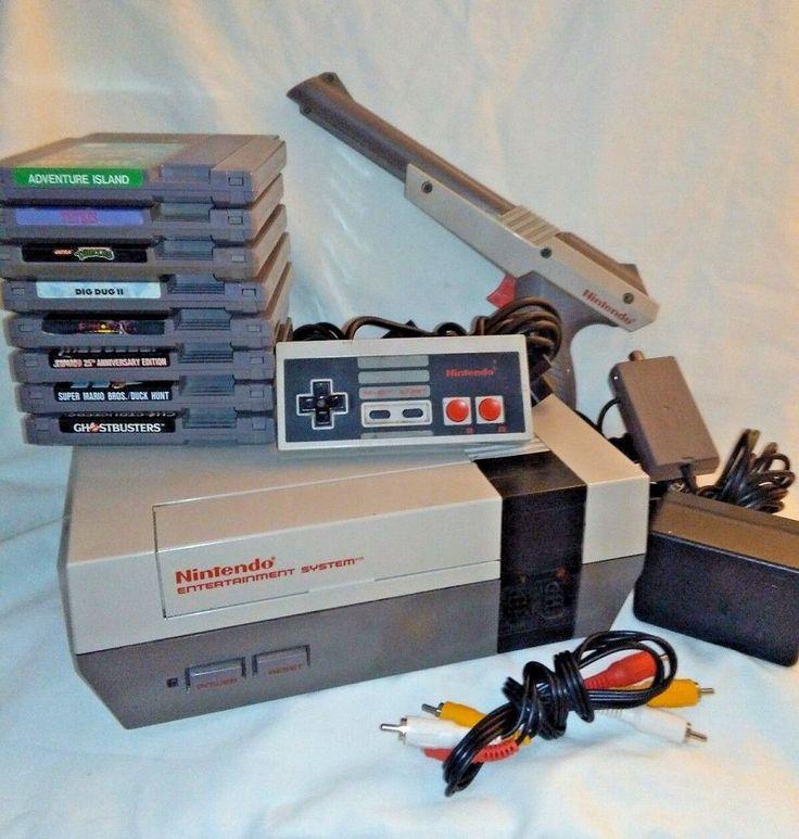 Original Nintendo NES Console 1 Controller 8 Games Tested Super Mario Bros. HTF  #Nintendo