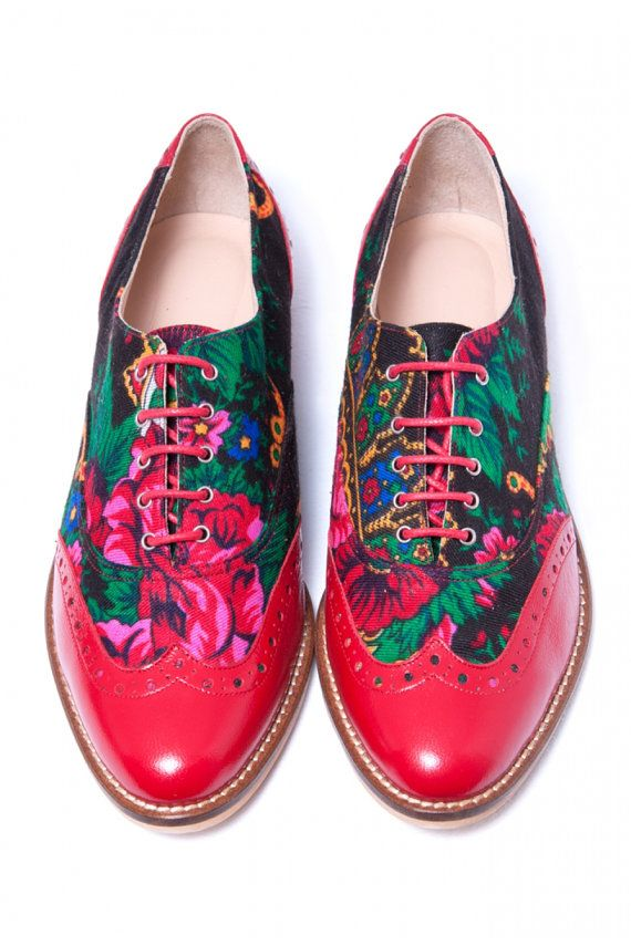 Red Lady Oxford shoes Red leather and Platok Russian flower print Lady Oxford Customized shoes