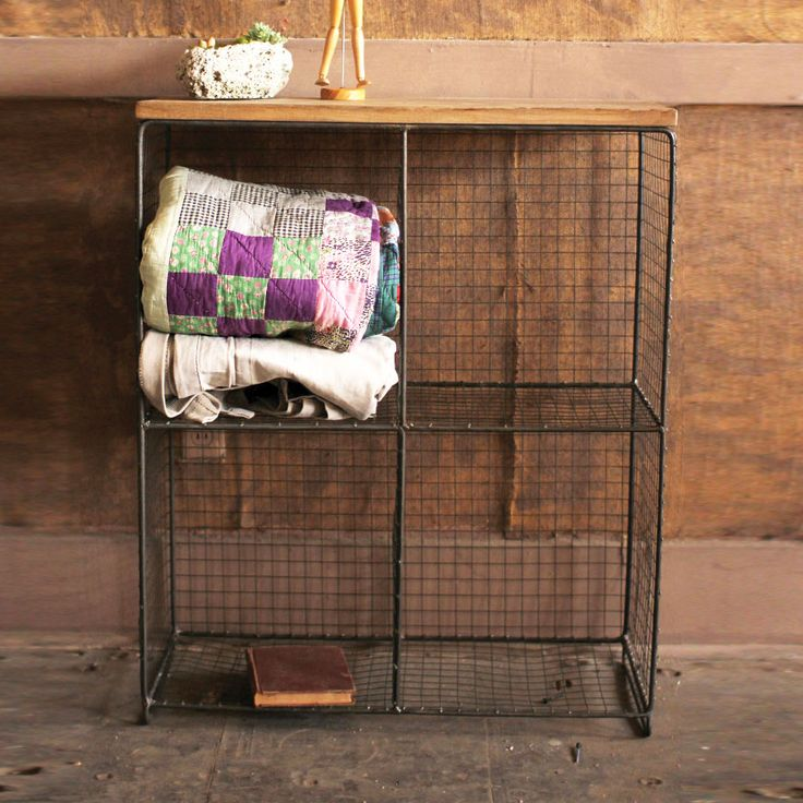 Wire & Wood 4-Cube Console